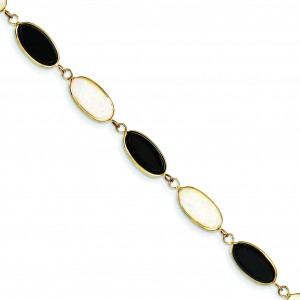 Polished Genuine Fancy Onyx Opal Bracelet in 14k Yellow Gold