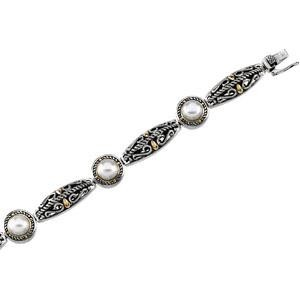 Cultured Pearl Bracelet in 14k Yellow Gold & Sterling Silver