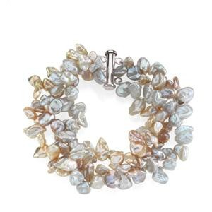 Multicolor Pearl Bracelet in Sterling Silver
