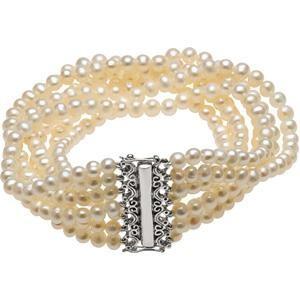 Pearl 7 Strand Bracelet in Sterling Silver