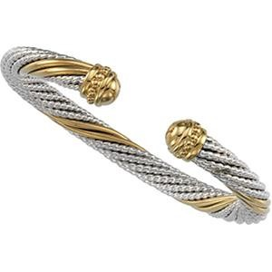 Cable Bracelet in 14k Yellow Gold & Sterling Silver