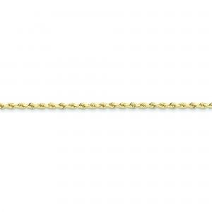 10k Yellow Gold 8 inch 2.50 mm Handmade Rope Chain Bracelet