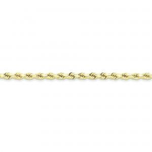 10k Yellow Gold 8 inch 4.00 mm Handmade Rope Chain Bracelet