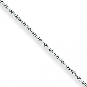 10k White Gold 18 inch 1.20 mm Machine Made Rope Collar Necklace