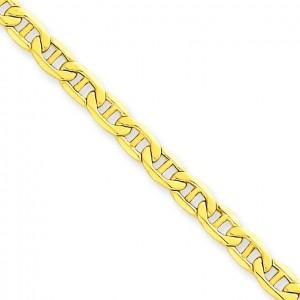 14k Yellow Gold 7 inch 4.10 mm Lightweight Anchor Chain Bracelet