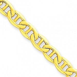 14k Yellow Gold 7 inch 5.10 mm Lightweight Anchor Chain Bracelet