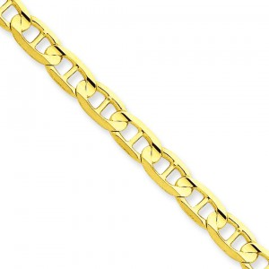 14k Yellow Gold 7 inch 5.25 mm Concave Anchor Chain Bracelet