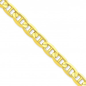 14k Yellow Gold 7 inch 7.00 mm Concave Anchor Chain Bracelet