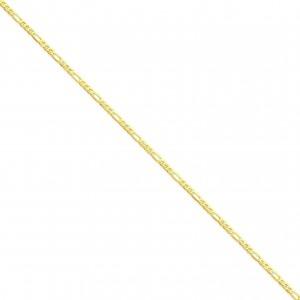14k Yellow Gold 7 inch 2.75 mm Flat Figaro Chain Bracelet