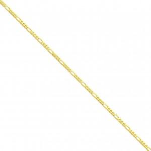 14k Yellow Gold 7 inch 3.25 mm Flat Figaro Chain Bracelet