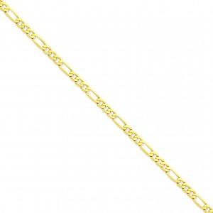 14k Yellow Gold 7 inch 5.25 mm Flat Figaro Chain Bracelet