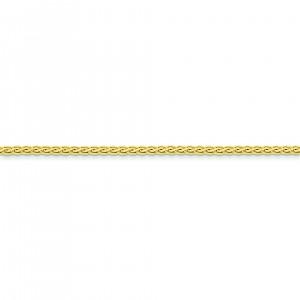 14k Yellow Gold 7 inch 3.00 mm Flat Wheat Chain Bracelet