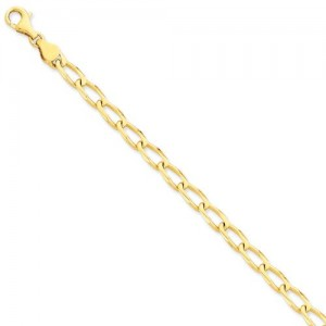 14k Yellow Gold 8 inch 6.00 mm Hand-polished Link Chain Bracelet