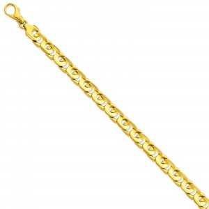14k Yellow Gold 8 inch 8.00 mm Hand-polished Link Chain Bracelet