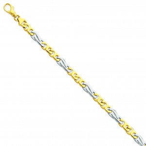 14k Two-tone Gold 8 inch 6.00 mm Fancy Link Chain Bracelet