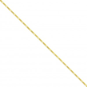 14k Yellow Gold 24 inch 1.25 mm Flat Figaro Chain Necklace