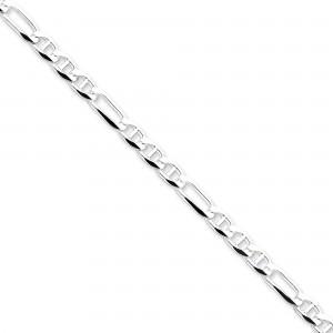 Sterling Silver 7 inch 5.50 mm Figaro Chain Bracelet