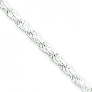 Sterling Silver 7 inch 2.75 mm Diamond-cut Rope Chain Bracelet