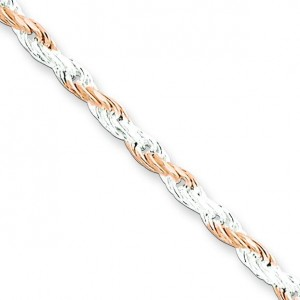 Sterling Silver 7 inch 2.50 mm  Rope Chain Bracelet