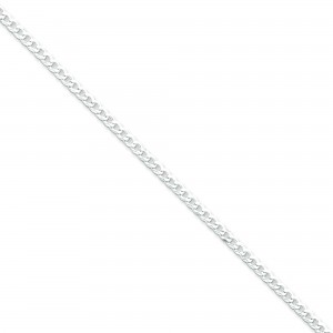 Sterling Silver 8 inch 3.20 mm Beveled Curb Chain Bracelet