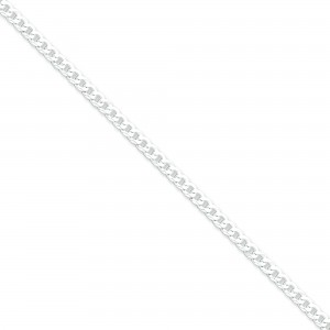 Sterling Silver 7 inch 4.00 mm Beveled Curb Chain Bracelet