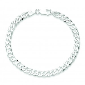 Sterling Silver 7 inch 4.50 mm Beveled Curb Chain Bracelet