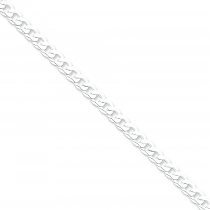 Sterling Silver 7 inch 6.30 mm Beveled Curb Chain Bracelet