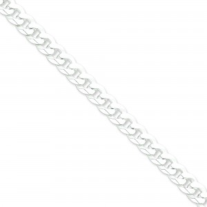Sterling Silver 7 inch 8.50 mm Beveled Curb Chain Bracelet