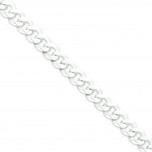 Sterling Silver 8 inch 13.00 mm Beveled Curb Chain Bracelet