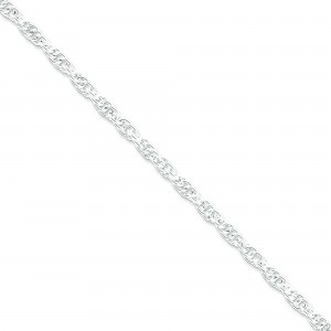 Sterling Silver 8 inch 4.00 mm Hollow Loose Rope Chain Bracelet