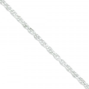 Sterling Silver 7 inch 5.00 mm Hollow Loose Rope Chain Bracelet
