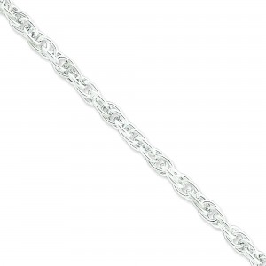 Sterling Silver 7 inch 6.75 mm Hollow Loose Rope Chain Bracelet