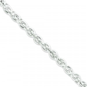 Sterling Silver 7.50 inch 8.85 mm Hollow Loose Rope Chain Bracelet