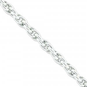 Sterling Silver 7.75 inch 9.85 mm Hollow Loose Rope Chain Bracelet
