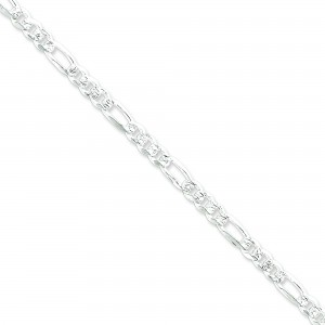 Sterling Silver 7 inch 5.50 mm Pave Figaro Chain Bracelet