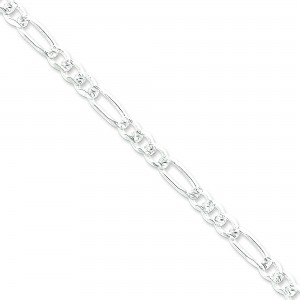 Sterling Silver 7 inch 7.00 mm Pave Figaro Chain Bracelet