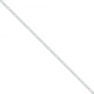 Sterling Silver 7 inch 2.25 mm  Figaro Chain Bracelet
