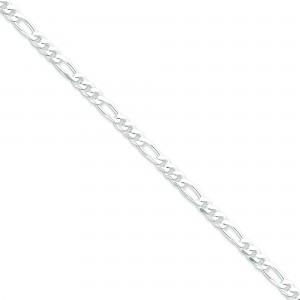 Sterling Silver 7 inch 4.25 mm  Figaro Chain Bracelet