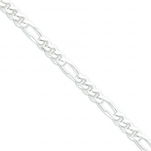 Sterling Silver 7 inch 7.75 mm  Figaro Chain Bracelet
