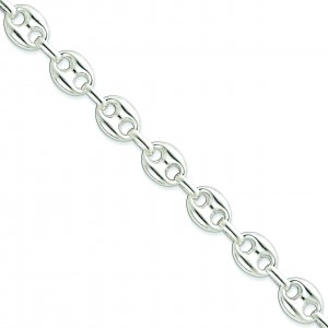 Sterling Silver 18 inch 13.25 mm Fancy Link Collar Necklace