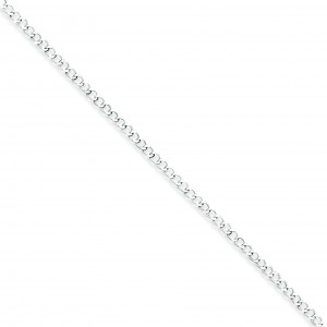 Sterling Silver 10 inch 2.50 mm Open Curb Ankle Bracelet