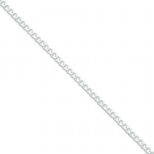 Sterling Silver 7 inch 3.65 mm Open Curb Chain Bracelet