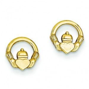 Claddagh Post Earrings in 14k Yellow Gold