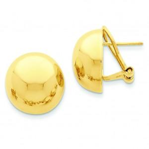Omega Clip Half Ball Earrings in 14k Yellow Gold