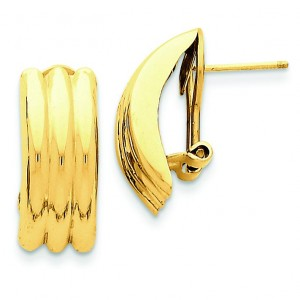 Omega Post Earrings in 14k Yellow Gold