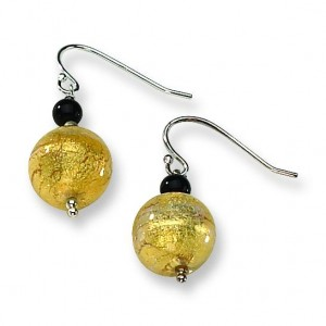 Murano Glass Bead Onyx Wire Earrings in Sterling Silver