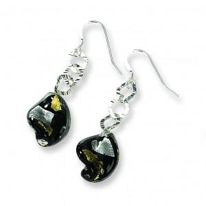 Murano Glass Bead Wire Earrings in Sterling Silver