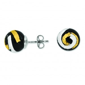 Black Gold Silver Color Murano Glass Earrings in Sterling Silver