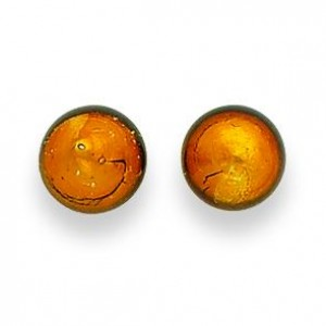 Gold Color Murano Glass Earrings in Sterling Silver
