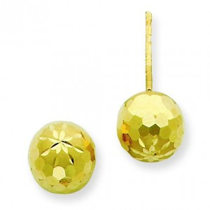 Diamond Cut Mirror Ball Post Earrings in 14k Yellow Gold